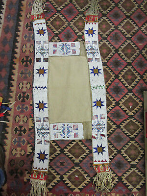 2626. SIOUX 1890s FULL BEADED AND QUILLED.  SADDLE BLANKET