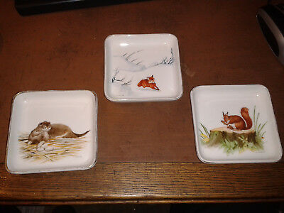 Three hand-painted dishes/pin trays, wildlife; Heinrich and Co, Selb, Bavaria