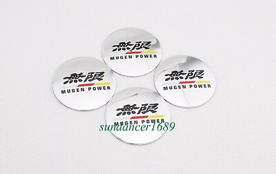 4pcs 56mm Car Wheel Center Hub Caps Sickers Curved For MUGEN POWER Silver 5629
