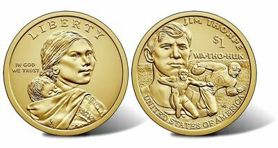 2018 P and D NATIVE AMERICAN Sacagawea Jim Thorpe Dollar 2 Coin Set In Hand!!!