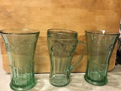 3 Coke Drinking Glasses ( AQUA GREEN ) 2 FLARED / 1 w Handle
