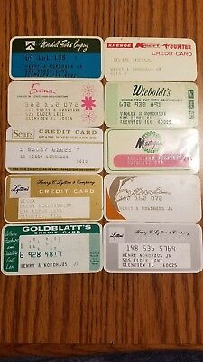Lot of 10 Vintage Retail Store Cards Credit Charge Cards Evans Sears Goldblatts