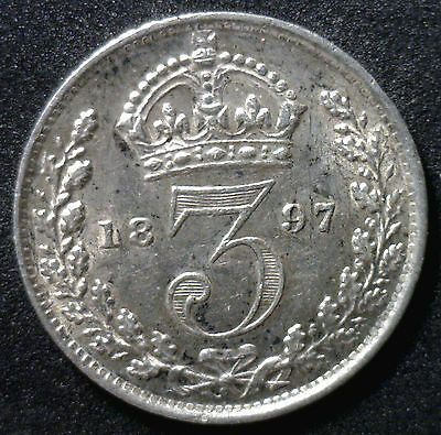 1897 Silver 3 Pence Great Britain UK English Coin XF