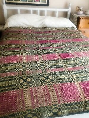 "Antique 19th Century Linsey-Woolsey Coverlet 68""W x 80""L"