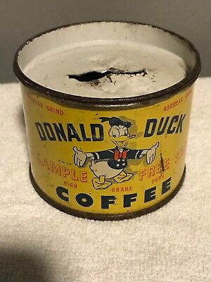 **price Reduced** Donald Duck Free Sample Coffee Tin/bank-Goyer Coffee Company