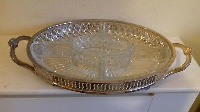 Antique chased silver plate galleried drinks tray with cut glass condiment dish'