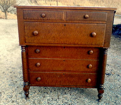 Antique Solid Cherry Empire Style Chest of Drawers Feather Grain Paint C 1850'S