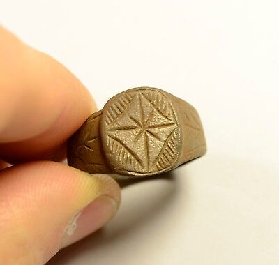 Genuine Roman Bronze Finger Ring With Star On Bezel - Wearable / Without Patina