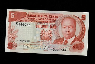 Kenya  5 Shillings 1981 Vf Condition