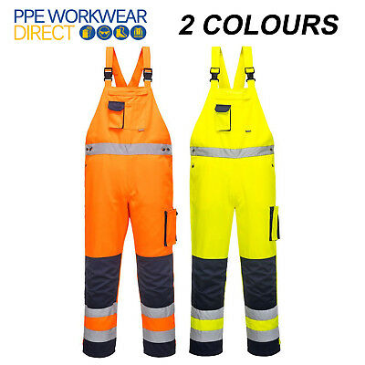 Portwest Dijon Hi Vis Bib and Brace Contrast Coverall Work Wear Dungarees TX52