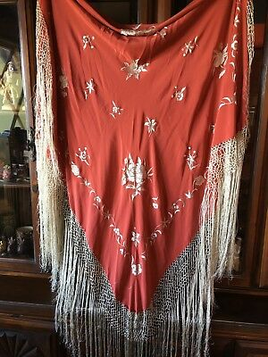 """Antique Silk Embroidered Piano Shawl Chinese Export Hand Knotted Fringe 92"""" Sq"""