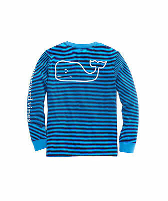 NWT Vineyard Vines Boys Striped Blue Vintage Whale L/S t shirt! $29.50! XL(18)!