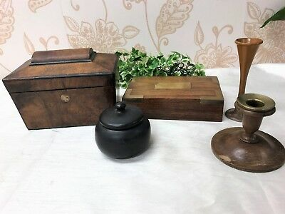 Job Lot  Antique Vintage Woodenware, Victorian Tea caddy, Candlestick, Box etc