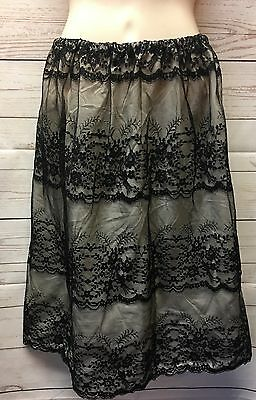 Vtg Van Raalte Black Floral Lace Overlay All Nylon 1/2 Slip Skirt Size M So Sexy