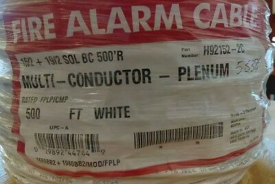 Southwire/Tappan H92152-2C 16/2+19/2 SOL BC Plenum Fire Alarm Cable/ White 500ft