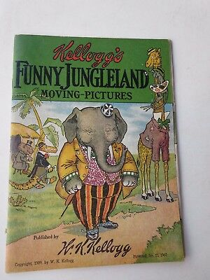 1907 Kellogg's Funny Jungleland Moving Pictures Children's Book - Excellent Cond