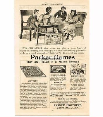 1895 Parker Brothers Games Waterloo Chivalry Innocence Abroad Vtg Print Ad