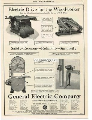 1915 G-E General Electric Woodworking Machine Motors Vtg Print Ad