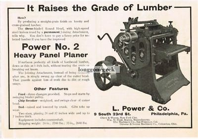1915 L. Power & Co. No.2 Heavy Panel Planer Milling Woodworking Vtg Print Ad