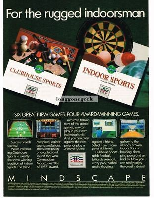 1988 Mindscape Clubhouse Indoor Sports Computer game Vtg Print Ad