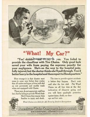 1918 American Chain Co. Tire Chains man talking to policeman art Vtg Print Ad