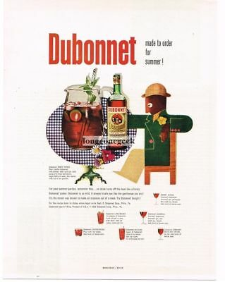 1954 DUBONNET Wine Party Punch art by PAUL RAND Vtg Print Ad