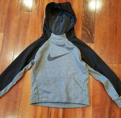 Nike Dri-Fit Pullover Training Hoodie, Grey/Black, Youth Small / 5
