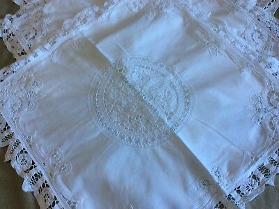 3 Tapework and Embroidered White Cotton Cushion Covers.