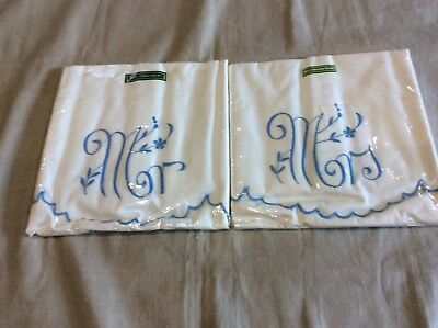 Vintage Pair of Cotton Embroidered Pillowcases Mr and Mrs.