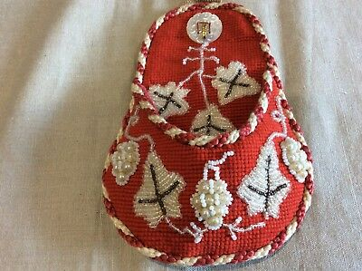 Victorian Beadwork and Woolwork Pocket Watch Holder