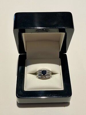 18ct White Gold Sapphire Diamond Engagement Ring with matching Wedding Band