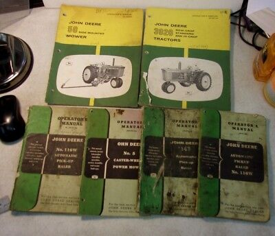 Lot 6 Vintage John Deere Tractor and Accessory Operator's Manuals 1930s-1950s