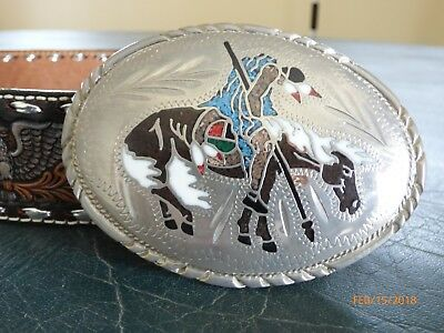 SSI Eagle Belt Buckle Nickel Silver Alloy  with inlaid & Belt USA