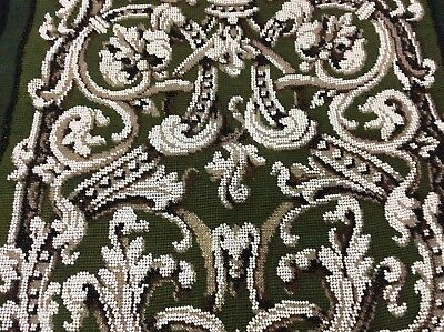 Antique Victorian Beadwork and Woolwork Banner