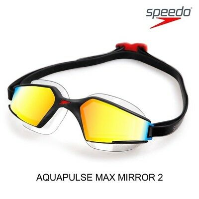 Speedo Aquapulse Max Mirror 2 IQfit Goggle Swimming Goggles Anti Fog HD Lens NEW