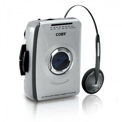 Coby CX-49 AM/FM Radio Cassette Player w/ Over Ear and In Ear Headphones - New