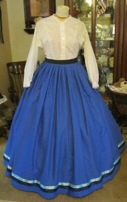 Civil War Dress Skirt~Victorian Style Lovely 100% Cotton Royal Blue Skirt
