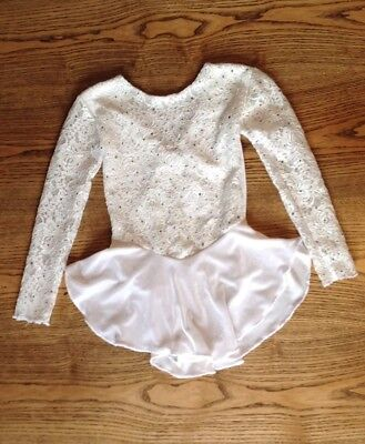 Beautiful Girls Ice Skating Dress White Size Approx 8-10 Years