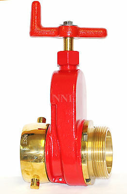 "NNI 2-1/2"" NST NH FIRE HYDRANT HOSE GATE VALVE Polished Brass Trim"