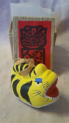Vintage Traditional Japanese Folk Art Clay Tiger Bell In Original Gift Box