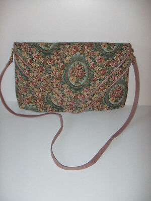 Vintage Victorian style Tapestry pastel tone double flap crossbody/Hand Bag