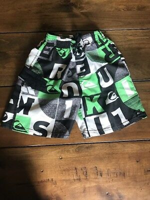 Quicksilver Boy's Swim Trunks 3T Green Black Gray