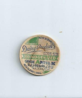 """New Albany Dairy Products""  New Albany, Miss.  milk bottle cap."