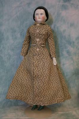 """17"""" Antique China Head Doll Snood, brush strokes, gold band in hair, 3 sew holes"""