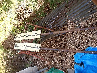 Railway Whistle Sign With Long Steel Pole 2 Signs Sale The Lot  The Pole 268Cm L