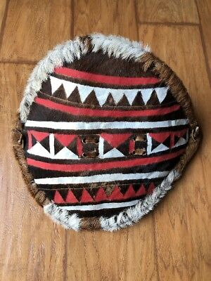 Handmade Painted FUR Hide Maasai AFRICAN TRIBAL Warrior Ceremonial Shield Kenya