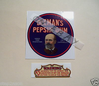 "2.5"" Vintage Vending BEEMAN`s Gum Machine Water Release Decal Candy Retro old"