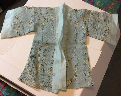 Antique Silk Baby Kimono 100+ Yrs Pale Blue w/ White Cherry Blossom Print