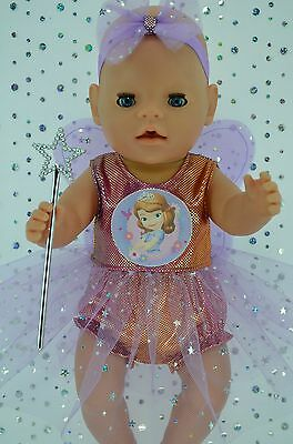 "Play n Wear Doll Clothes For 17""Baby Born RAINBOW FAIRY~PANTS~HEADBAND~WAND"