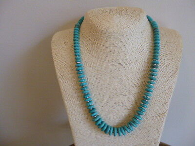 Graduated Turquoise And Silver Native American Southwestern Style Necklace
